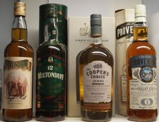 4 Bottles – Miltonduff 15 years old OB, 12 years old OB, 6 years old Cooper's Choice & 7 years old Provenance