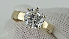 2.02 ct  round diamond ring made of 14 kt yellow gold - size 7