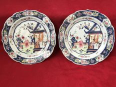 Famille rose pair of plates decorated with mandarins - China - ca. 1760/80 (Qianlong period )