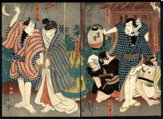 Woodblock print by Utagawa Kunisada I (Toyokuni III, 1786–1865), kabuki depiction - Japan - 1850 (Kaei 3), 9th month