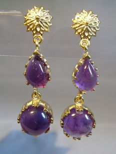Handmade earrings with genuine amethysts 14ct in total.