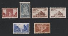 France 1929/1931 - Monuments series - Yvert no. 258 - 262