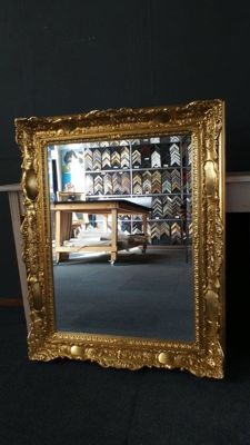 Large Venetian mirror with facet - Hand-gilded - Gold