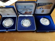 Italy, Republic - 10,000 lire in box set (3 pieces) - silver