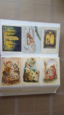 Lot consisting of children's cards, part of which are signed. About half are Christmas and new year cards, the other half all sorts of themes having to do with children. 270X