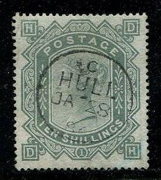 Great Britain 1867/'83 – Queen Victoria – 10 shilling grey-green, blued paper, Stanley Gibbons 131