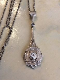 14 kt White gold necklace with 14 kt white gold Art Deco pendant, set with diamonds