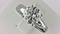 2.04 ct round diamond ring made of 18 kt white gold *** NO RESERVE PRICE ***