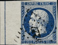 France 1856 - Empire imperforated 20 centimes dark blue with a framing border. Yvert 14Ai