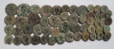 Roman Empire - 52 bronze coins minted between the third and fourth centuries AD