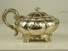 A George IV Silver Sugar bowl -  Rebecca Emes and Edward Barnard - London - 1826 & spoon Richard Crossley - London - 1792