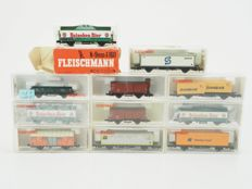 Fleischmann N - 11x different goods wagons mostly of the DB