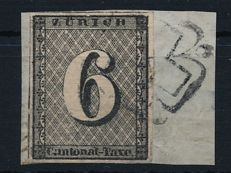Canton Zurich - 1843 - 6 Rp on letter piece with black Zurich rosette, Michel 2II with attest VSPV