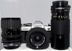 Canon AE-1 with 3 lenses