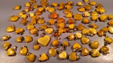 Vintage Egg yolk colour Baltic Amber heart pendants, lot of 88 pieces, 35 grams