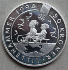 Norway - 50 Crowns 1991 - 1994 Lillehammer Olympics - children's sled - silver