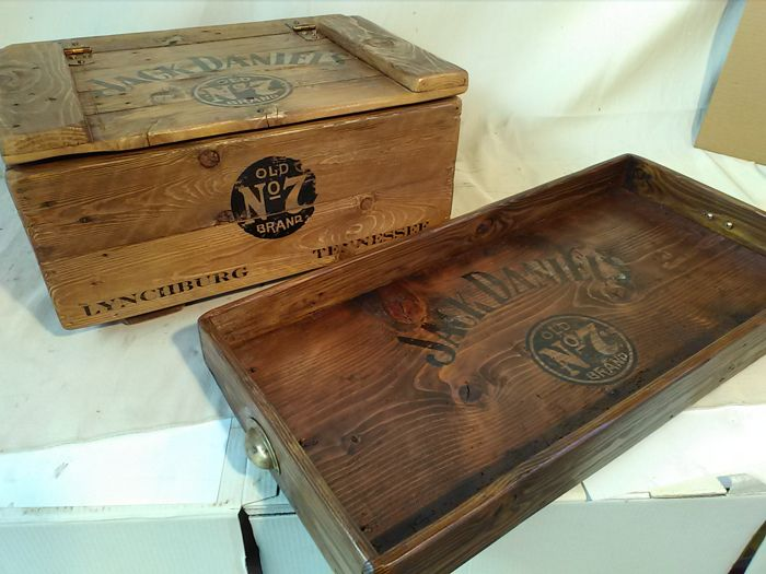 Vintage pub-bar wood Jack Daniel's set - 2 pieces