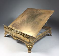 Gold-plated brass lectern with open worked edge - France - ca. 1900