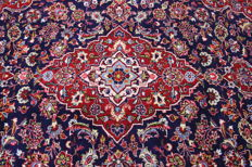 Fine Persian carpet, Kashan 2.95 x 2.05, blue, hand-knotted, high-quality new wool, oriental carpet GREAT CONDITION