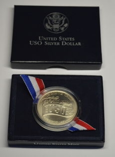 USA - 1 Dollar 1991 '50th Anniversary USO' - silver, incl. box