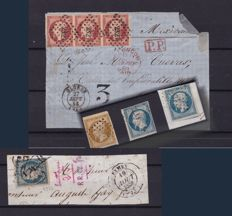 France from 1850s - Composition separate stamps and on fragment