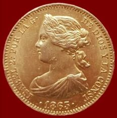 Spain - Isabel II, 100 gold reales, Madrid 1863 - 22 mm/8.38 g