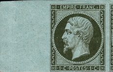 France 1860 - Empire imperforated 1 centime, dark olive green, Stamp chosen as 1st choice - Yvert 11.