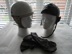 Black leather drivers hat, old motorcycle helmet and leather gloves - ca. 1960