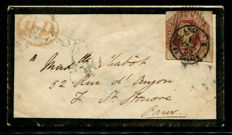 Great Britain 1847/'54 – Queen Victoria – 10 pence brown embossed on mourning cover, Stanley Gibbons 57