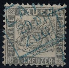 "Baden – 1862 - 1 kreuzer ""silvery grey"" with Lahr cancellation, Michel no. 17b"