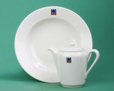 Rare ALLACH (SS) porcelain coffee jug & Bohemia plate (plate) both DKR (German Red Cross)