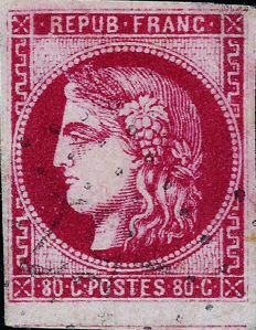 France 1870 - Bordeaux issue, 80 centimes, cherry-red, signed Calves - Yvert 49d