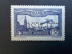 France 1930 – Perfin airmail stamp, EIPA 30, signed Calves with certificate – Yvert PA No. 6c