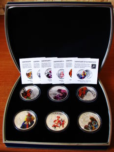 Fiji - 1 Dollar 2012 'Carnival around the World' (set of 6 different coins) - Silver plated copper