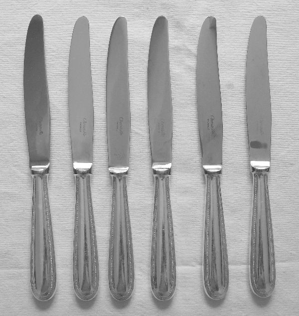 6 silver plated table knives, Christofle, beaded model