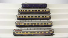 Liliput H0 - 821 - Set of 5 Rheingold carriages of the DRG, with interior lighting and close couplings
