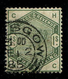 Great Britain 1883/84 – Queen Victoria – 1 shilling dull green, Stanley Gibbons 196