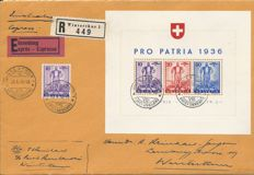 Switzerland 1936 - signed express letter with block Pro Patria