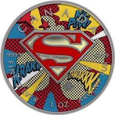 Canada - 5 Dollars 2016 'Superman - Popart' Antique Finish und farbe - 1 oz silver