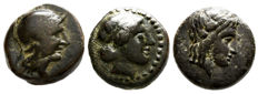 Greek Antiquity – lot of 3 AE coins-- 1st Pergamon Philetairos Athena Serpent (281 BC) / 2nd Seleukid Kingdom, Antiochos III, (222 – 187 BC) Apollo and Elephant / 3rd Kolophon Ionia Laureate Head of Apollo / Horse Forepart (330 – 285 B.C.)