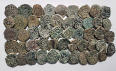 Spain - Lot of 50 Coins from Spanish Colonies of the House of Austria, 1500-1700 A.D. - Europe
