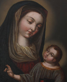 France 18th century school - Virgin Mary with Child