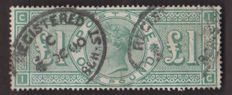 Great Britain, effigy of Victoria, 1887/1900 – Yvert 105 £1, green.
