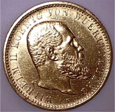 Württemberg – 10 Mark 1909 F – gold
