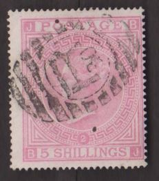 Great Britain 1867/1872, effigy of Victoria –  5 shillings, pink - Yvert 40.