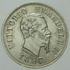 Kingdom of Italy, 1867 - 50 Cent - Vittorio Emanuele II - Milan - silver