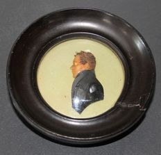 A wax portrait miniature of a gentleman, possibly Bonaparte - France - late 19th century