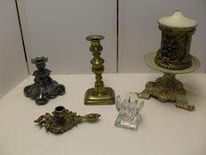 5 Candlesticks of bronze, copper, crystal