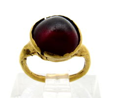 Medieval Viking period Gold Ring with Dark Red Stone