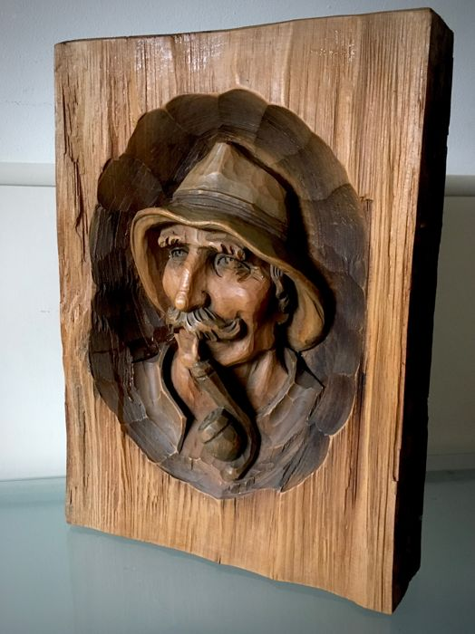Hand-carved wood carving of a pipe-smoking fisherman - 1930's - Wood
